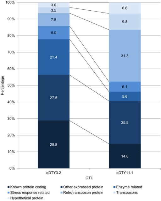 Comparison of gene content of qDTY3.2 and qDTY11.1 based on percentage of genes belonging to seven gene classes within the two QTLs.