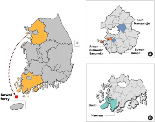 Map of the study area and sampling locations in (A) Gyeonggi-do, (B) Jeollanam-do.