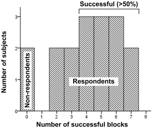 The distribution of block success across subjects.
