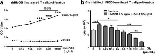 The effect of Gly on rhHMGB1-mediated T cell proliferation in cultured splenocytes. a rhHMGB1 protein promoted splenocyte proliferation in vitro. Splenocytes harvested from naïve rats were cultured, and rhHMGB1 was added in a series of concentrations. The cell numbers were detected using Cell Counting Kit-8. The results suggest that rhHMGB1 dose-dependently increased splenocyte proliferation. *P < 0.05, ***P < 0.001 vs 0 ng/ml of rhHMGB1, respectively. @@@P < 0.001 between the two indicated groups. b The addition of Gly inhibited rhHMGB1-mediated T cell proliferation. Different concentrations of Gly were added to the cultured splenocytes with rhHMGB1 and ConA, and T cell proliferation ratios were measured. *P < 0.05, **P < 0.01, ***P < 0.001, respectively, between the two indicated groups. n = 5/group. OD optical density, CPM counts per minute