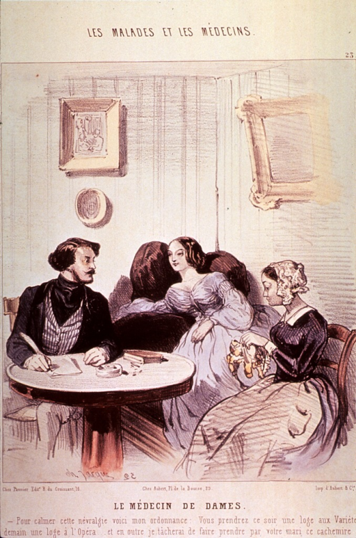 <p>A man is sitting at a table writing with a quill pen; two young women are to the right, one is sitting in a chair, the other with her hand on her stomach is reclining on a sofa.</p>