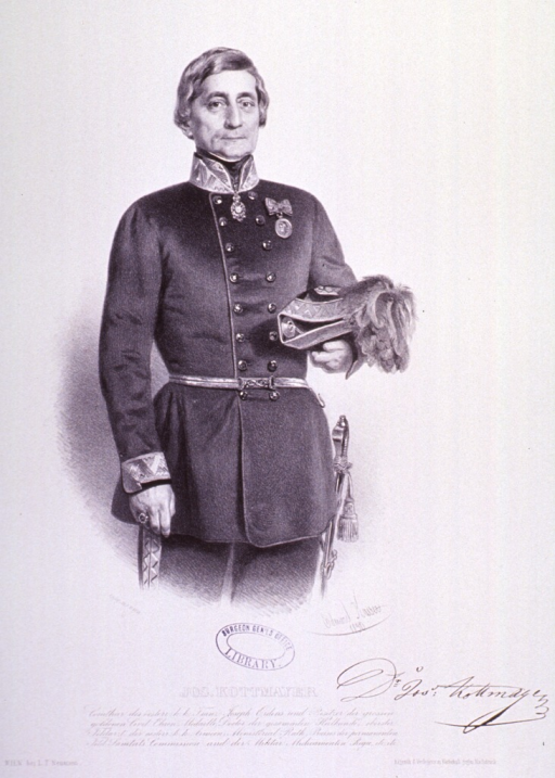 <p>Three-quarter length, standing, right pose, full face; wearing uniform with sword; holding hat.</p>