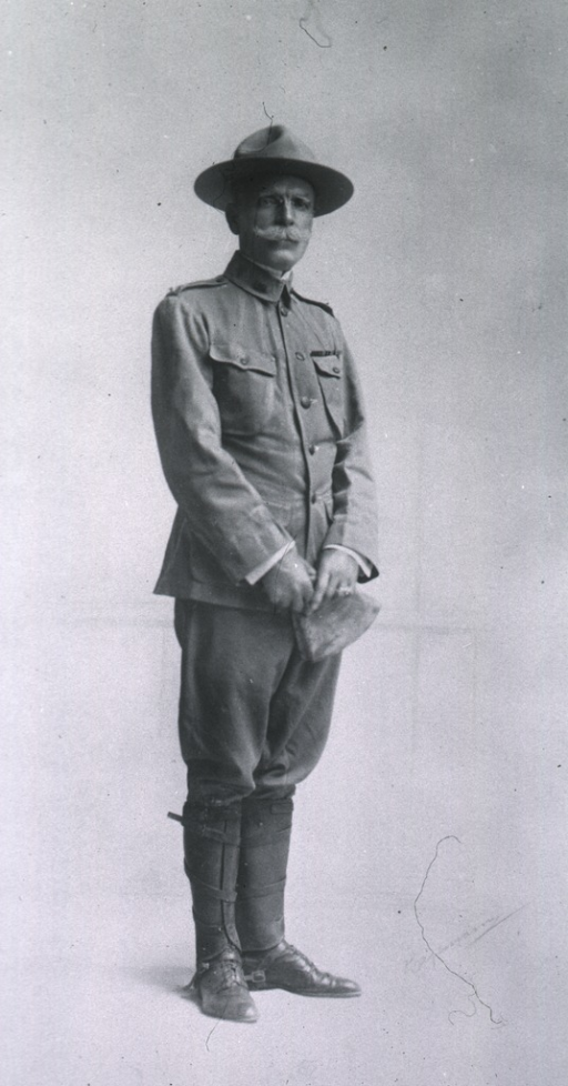 <p>Full length, standing, wearing field uniform, hat and gloves.</p>