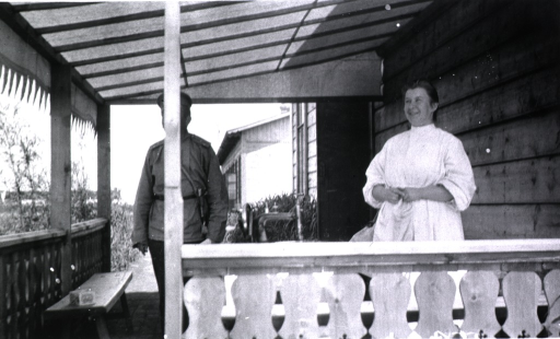 <p>The front porch of the officer's quarters in a hospital town, Harbin.</p>