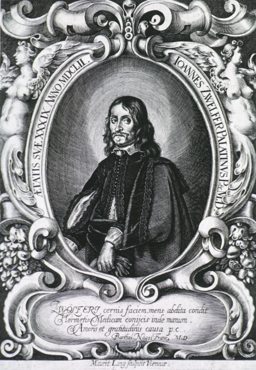 <p>Standing, left pose, holding glove. Portrait in elaborate frome with inscr. in  Latin on scroll beneath print.</p>