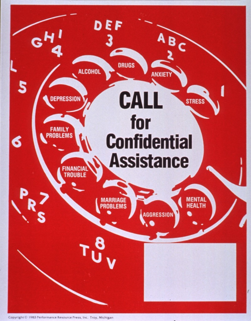 <p>Red poster with black and white lettering.  Title in center of poster, incorporated in visual image.  Image is an illustration of a rotary phone dial.  Several problems that might be solved through counseling are listed in the holes on the dial.  Problems include stress, anxiety, drugs, alcohol, depression, family problems, financial trouble, marriage problems, aggression, and mental health.  Blank space near bottom of poster for contact information, though none given.  Publisher information at bottom of poster.</p>