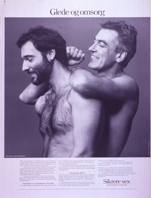 <p>Black and white poster with black lettering.  Title at top of poster.  Visual image is a b&amp;w photo reproduction featuring two smiling, shirtless men.  They stand back to front.  Sponsor information in lower left corner of photo.  Lengthy caption below photo discusses HIV and AIDS and the importance of using condoms for safer sex.  It also publicizes a brochure offering tips on safer sex.  Note and publisher information in lower right corner.</p>