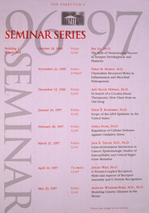 <p>A photograph of a columned building is at the top of the poster.  Eight lectures between Oct. 18, 1996 and May 23, 1997 are listed, with time, topic, and speaker given.</p>