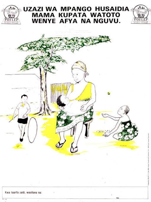 <p>Predominantly white poster with black lettering.  Title at top of poster, along with publisher logos.  Visual image is a color illustration of a mother and her three children.  She holds an infant and the older children play nearby.  Publisher and sponsor information on right side of poster.</p>