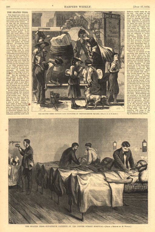 <p>Two wood engravings on the same page by an unknown engraver.  The top engraving shows a group of people drinking ice water from a barrell.  The bottom engraving show doctors treating patients who lie in bed in a hospital room.</p>