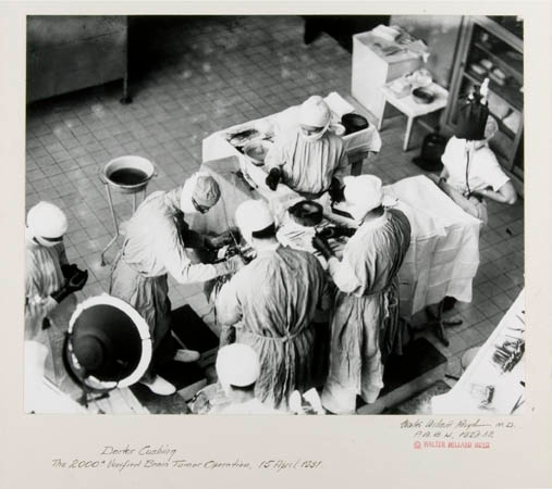 Photograph commemorating Cushing's 200th verified brain tumor surgery. Photo courtesy of Cushing/Whitney Medical Library