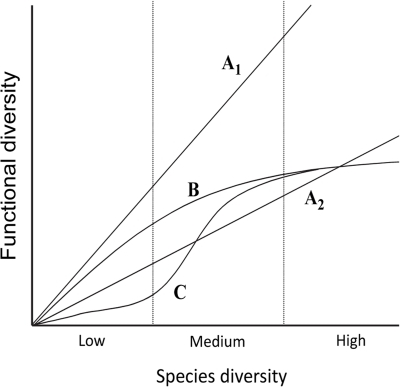 Relationship between taxonomic diversity and functional diversity: schematic scenarios (redrawn from [16]).