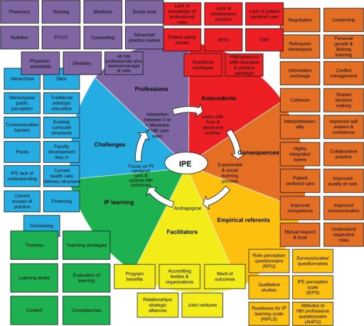 "Iterative ""color wheel"" concept map for interprofessional education (IPE)."