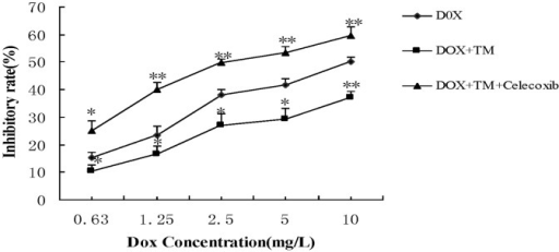 Effect of co-pretreatment with tunicamycin and celecoxib on cell viability induced by doxorubicin in HepG2 cells.HepG2 cells were pretreated with 3 µmol/L tunicamycin for 8 hr, either in the absence or the presence of celecoxib (50 µmol/L) and then exposed to doxorubicin (2.5 mg/L) for 24 hr. Cell viability of HepG2 cells was determined by the MTT assay. Data are expressed as the mean ± SD of three independent experiments (bars represent S.D.). (*P<0.05, **P<0.01, compared with HepG2 cells pretreated with tunicamycin, and then exposed to doxorubicin for 24 hr).