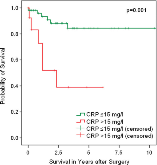 Cancer-specific survival (Kaplan-Meier) of patients with penile SCC plotted against the preoperative CRP group. The 5-year survival rate of all evaluable patients (n=69) was 84.3% for CRP ≤15 mg/l (n=54) and 38.9% for CRP >15 mg/l (n=15) (p=0.001, log rank).