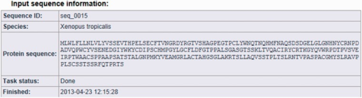 MisPred analysis of a protein sequence for potential sequence errors. The sequence shown in Figure 1 was analysed with the various MisPred tools. This figure shows basic information about the input protein sequence (automatically generated sequence ID, species name, protein sequence, task status and date and time of the completion of the analysis).