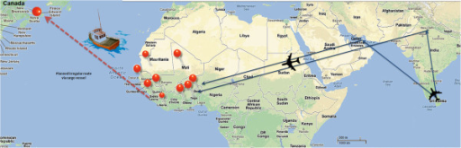 Irregular migration routes from Sri Lanka to Canada via West Africa. Blue indicates air routes and red markers represent the nine countries to which migrants entered before travelling via land routes to converge on a single port (Sierra Leone) to board a cargo vessel. Red dotted line represents the planned sea route. (Image developed by corresponding author. Map derived by Google maps).