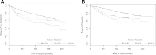 Probability of survival in the whole series (n=360) according to ER/PR subsets of patients using the current method with >10% cut-off A) RFS (P=0.013) and B) OS (P=0.002).