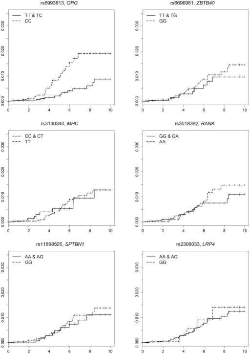 Cumulative incidence of hip fracture for patients who were homo- or heterozygous for the non-risk allele and patients homozygous for the risk allele of each single nucleotide polymorphism (by the Kaplan-Meier method).Homozygous for the risk allele of rs6993813 (C) in the OPG locus was significantly associated with the occurrence of hip fracture (P = 0.0067).