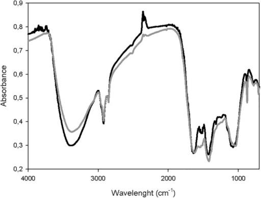 FTIR spectra of the samples of pile C during the composting process.Initial stage (black line) and maturity stage (grey line).