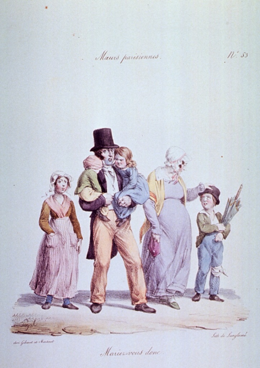 <p>Caricature:  A family unit; the father is carrying two children, to his right stands a girl, to his left stands the mother who is pregnant, and next to her is a boy with a bandaged knee, holding an umbrella.</p>