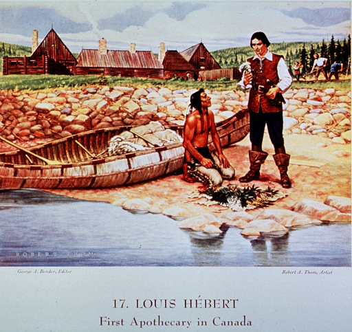 <p>Showing Louis Hebert and an Indian examining native plants.  In the background, colonists tend a garden outside the walls of the settlement.</p>