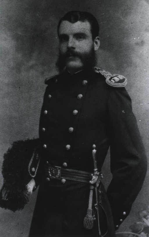 <p>Three-quarter length, full face, left pose, wearing uniform and sword, holding hat.</p>