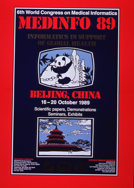<p>Red and navy blue poster with red, white, and gold lettering announcing congress, Oct. 1989.  Also lists location, dates, sponsors, and contact information for both organizing committee and scientific committee.  Title at top.  Illustration of a panda eating bamboo directly under title.  Illustration of three-tiered pagoda with fence and stairs near bottom of poster.  Sponsor logos in gold at bottom of poster.</p>