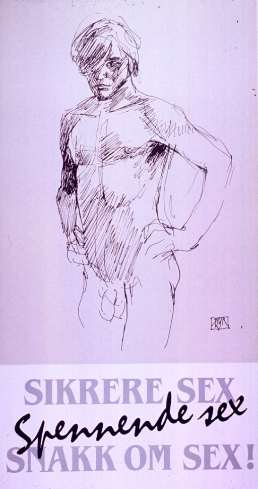 <p>Taupe and white poster with gray and black lettering.  Visual image is a drawing of a naked man.  Title below drawing.</p>