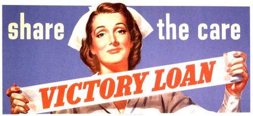 <p>Photographic representation of a nurse in uniform from the chest up. She is holding a partially unrolled bandag, strethced out between her hands, with &quot;victory loan&quot; printed in red across the bandage.</p>