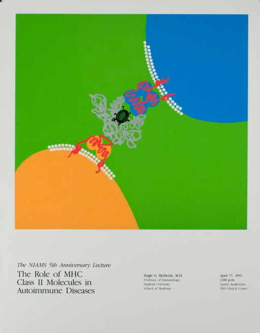 <p>Image representing MHC class II molecules consists of two opposing connected circles. The title, date, time, and location of the event and other information are listed at the bottom of the poster.</p>
