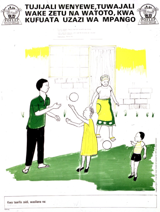 <p>Predominantly white poster with black lettering.  Title at top of poster, along with publisher logos.  Visual image is a color illustration of a four-member family.  The father is playing ball with the children.  Publisher and sponsor information on right side of poster.</p>