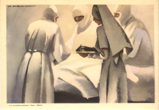<p>Colored painting of a nurse assisting surgeons during an operation.</p>