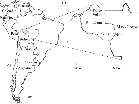 Map of Brazil indicating the geographical location of the city of Porto Velho and that of the village of Pedras Negras.