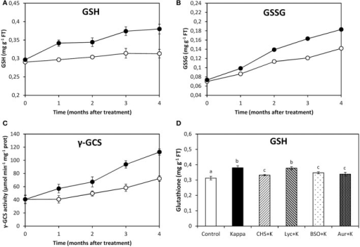 Effect of inhibitors on GSH synthesis after treatment with OC kappa. Level of glutathione [GSH, (A)] and oxidized glutathione [GSSG, (B)] and of γ-glutamylcysteine synthase [γ-GCS, (C)] activity in control Eucalyptus trees (empty circles) and in trees treated with OC kappa (black circles) cultivated for 0–4 months without additional treatment. Level of GSH (D) in control Eucalyptus trees (control), in trees treated with OC kappa (kappa) and in trees treated with CHS-828 and OC kappa (CHS+K), lycorine and OC kappa (Lyc+K), buthionine sulfoximine and OC kappa (BSO+K) and auranofin and OC kappa (Aur+K) and cultivated for 4 months without additional treatment. GSH and GSSG levels are expressed in milligrams per gram of fresh tissue (FT) and the activity of γ-GCS is expressed in micromoles per minute per milligram of protein. Symbols and bars represent mean values of three independent experiments and letters indicate significant differences (p < 0.05).