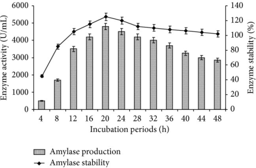 Effect of incubation periods on amylase production and stability. The flasks were inoculated with culture and were incubated at different incubation periods (4–48 h) at initial pH 7.0, 55°C. For enzyme activity, the reaction was assayed at respective incubation periods and for stability enzyme was preincubated for 4–48 h at 55°C for 1 h and assayed by standard assay method. Error bars presented mean values of ±standard deviation of triplicates of three independent experiments.