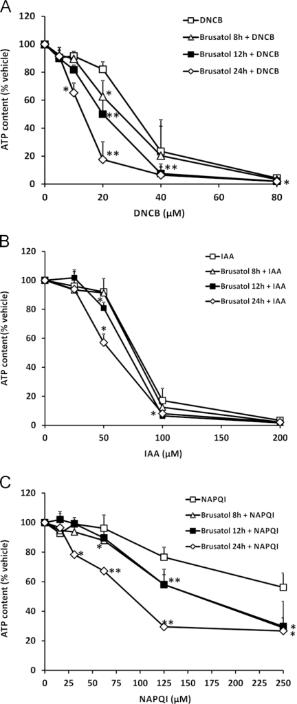 Brusatol sensitizes mammalian cells to chemical stress. ATP content in Hepa-1c1c7 cells exposed to 300 nM brusatol for the indicated times, followed by the indicated concentrations of (A) DNCB for 6 h, (B) IAA for 6 h, or (C) NAPQI for 12 h is shown. ATP levels are expressed as a percentage of the ATP content of vehicle-exposed cells. Data represent the mean + SD of n=3 independent experiments. Statistical analysis was performed using an unpaired t test (*P<0.05, **P<0.01 vs vehicle control).