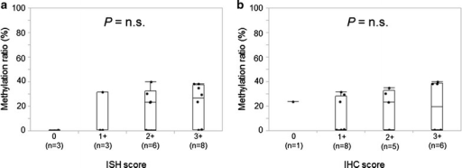 Association between TRIM9 mRNA expressions obtained with ISH and IHC analysis and methylation ratios in breast cancer tissues. TRIM9 hypermethylated or hypomethylated breast cancer tissues were subjected to ISH (a) and IHC (b) for TRIM9 mRNA. Each immunoreactivity was one of four scores (0, 1+, 2+ and 3+). ISH, in situ hybridization; IHC, immunohistochemistry