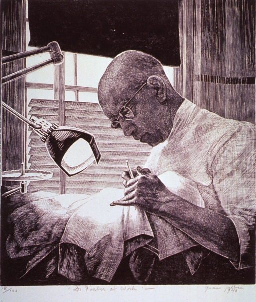 <p>View from behind the chair showing a dentist (head and shoulders, left profile) at work on a patient, who is largely obscured from this angle. Light and instrument tray are visible to the left.</p>