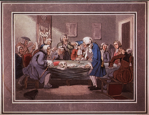<p>A group of physicians seated around a rectangular table on which rests a skull; one man has risen violently, upsetting his chair, and has raised his right arm to pound the table or to shield his face(?); a hat is on the floor; a skeleton on the wall.</p>
