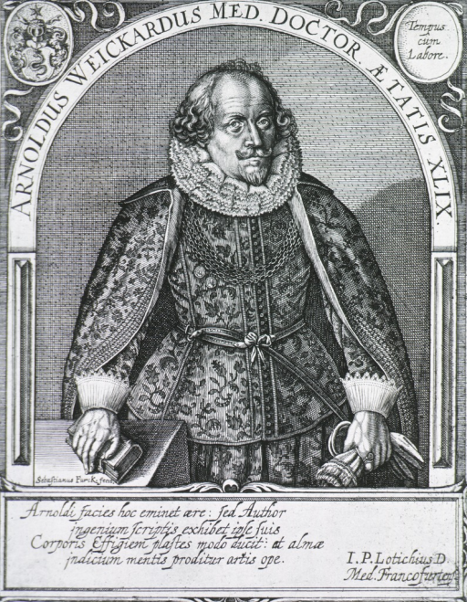 <p>Figure standing in arch, front pose; one hand on book, other holding gloves, embroidery on coat.  Coat-of-arms and crest at top.</p>