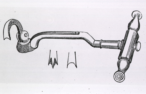 <p>A hooked device with a T-shaped handle.</p>