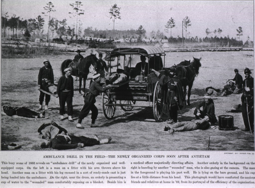<p>Ambulance drill in the field - the newly organized corps soon after Antietam.</p>