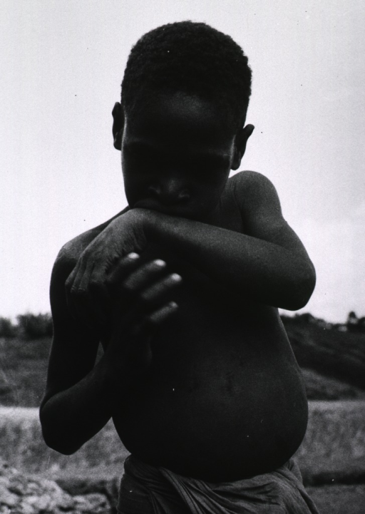 <p>A child, half-length, standing, naked to the waist; he is a member of the Fore, a primitive tribe living in the Eastern Highlands of New Guinea.</p>
