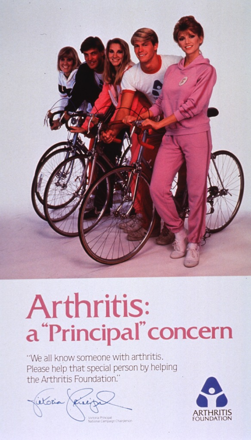 <p>White poster with multicolor lettering.  Visual image dominates upper portion of poster.  Image is a reproduction of a color photo featuring the actor Victoria Principal and four young adults, poised to ride bicycles.  Title below image, caption below title.  Publisher name and logo in lower right corner.</p>