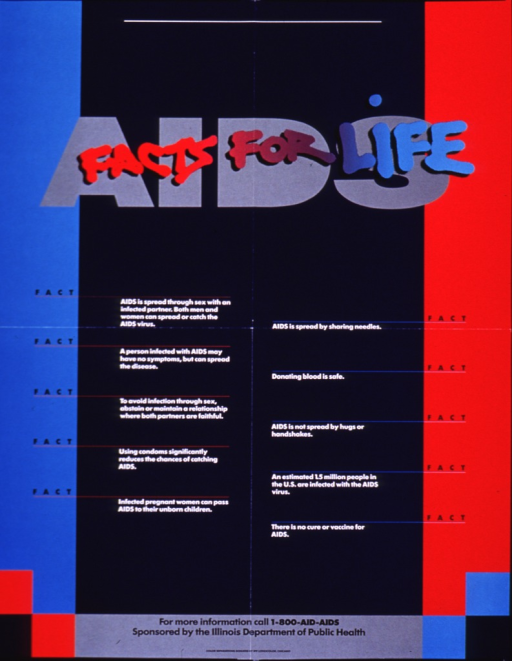 <p>Predominantly blue and red poster with multicolor lettering.  Title at top of poster, with final phrase superimposed on initial word &quot;AIDS.&quot;  Poster is dominated by text presenting ten facts on AIDS transmission and prevention.  Hotline number and sponsor information at bottom of poster.</p>