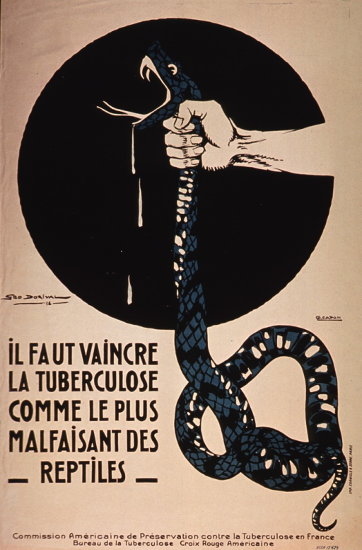<p>Poster on tan or discolored white paper with black lettering.  Visual image is an illustration of a human hand choking a snake.  Venom drips from the snake's open mouth.  Title in lower left quadrant.  Publisher information at bottom of poster.</p>