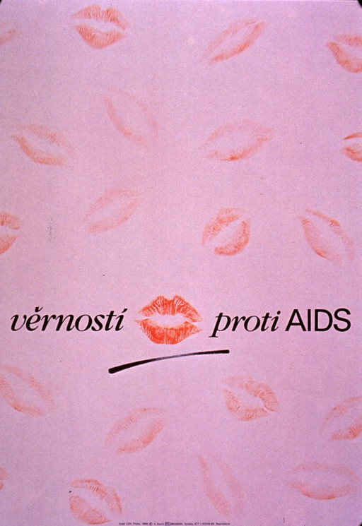<p>Predominantly pale pink poster with black lettering.  Visual images are illustrations of lip prints, scattered across the poster.  Title near center, with the most prominent lip print appearing between first two words.  Publisher information at bottom of poster.</p>