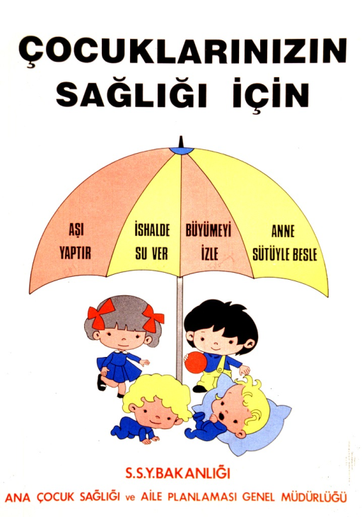<p>Predominantly white poster with black and red lettering.  Title at top of poster.  Title addresses concepts of children and health.  Visual image is an illustration of four children playing and resting under an umbrella.  Each panel of the umbrella bears a phrase in Turkish.  Publisher information at bottom of poster.</p>