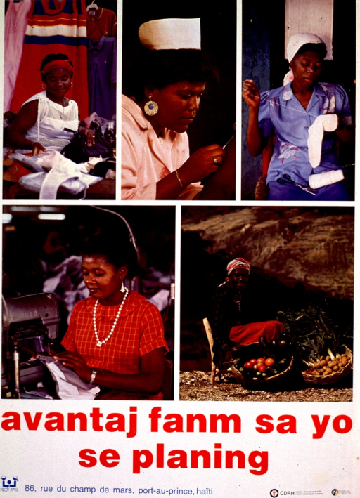 <p>Multicolor poster with red and blue lettering.  Upper portion of poster features 5 color photo reproductions.  Photos feature women shopping, giving an injection, mending, using a sewing machine, and with two overflowing baskets of food.  Title below photos appears to address the advantages of family planning.  Publisher information at bottom of poster.</p>